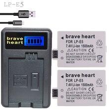 Фирменная LP-E5 батарея bateria lp e5 2 шт lpe5 батареи+ ЖК USB зарядное устройство для Canon DSLR EOS 500D 450D 1000D kiss x3 Спортивная камера