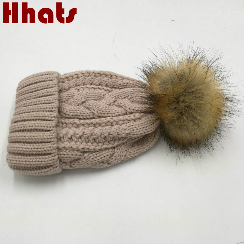 which in shower faux fur pom pom children winter hat thick warm fleece lining cable knitted beanie cap kids boy girl gorras