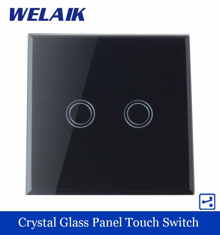 WELAIK Crystal Glass Panel Switch black Wall Switch EU Touch Switch Screen Wall Light Switch 2gang2way AC110~250V A1922XB smart home us au wall touch switch white crystal glass panel 1 gang 1 way power light wall touch switch used for led waterproof