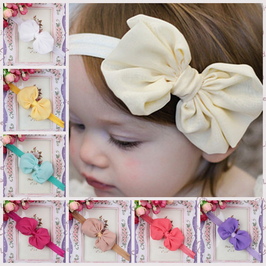 Bany Headband Kids Elastic Floral Headband Hair Girls Baby Kawaii Bowknot Solid For Hair Turban Headwear Set
