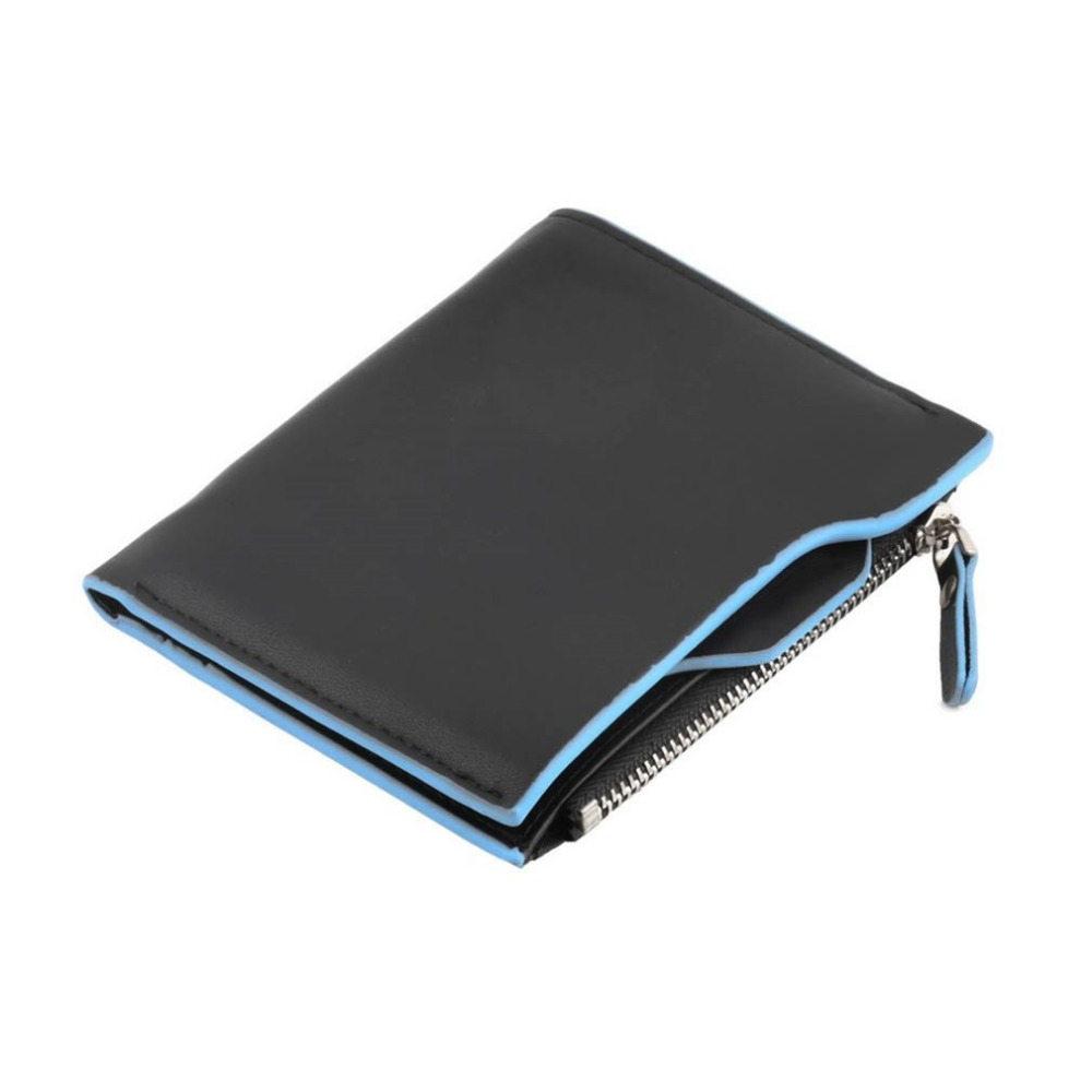 Men PU Leather Short Wallets ID Credit Card Holder Coin Purse Pockets Zipper Male Slim Coin Holder Money Bags