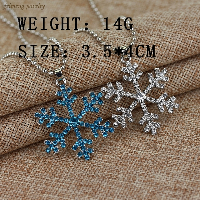 Elsa Anna Christmas Gift Fashion Luxury Shiny Rhinestone Snowflake Necklace Pendants Chain Long Necklace Snow and Ice Jewelry