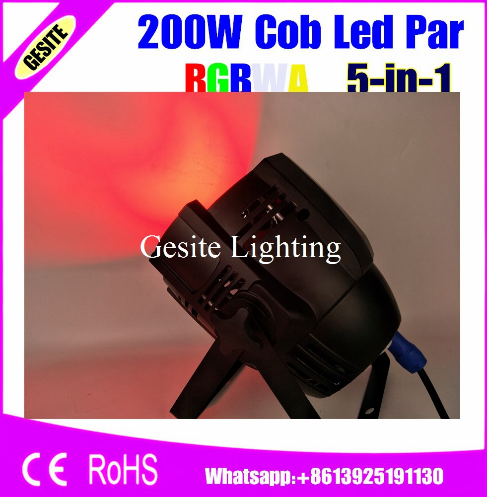 2pcs/lot LED Par Light COB 200W High Power AluminiumRGBWA 5IN1 DJ DMX Led Beam Wash Strobe Effect Stage Lighting