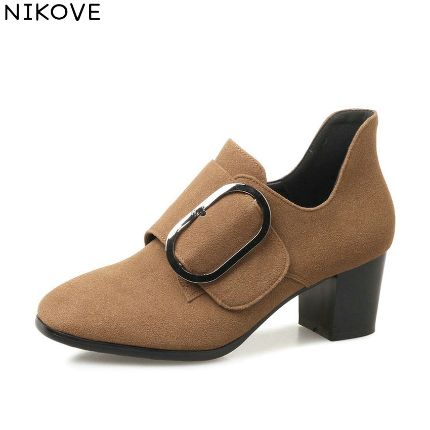 NIKOVE 2018 Women Pumps Shoes Western Style Square High Heels Square Toe Slip on High Heels Out Door Women Shoes Size 34-43 2017 shoes women med heels tassel slip on women pumps solid round toe high quality loafers preppy style lady casual shoes 17