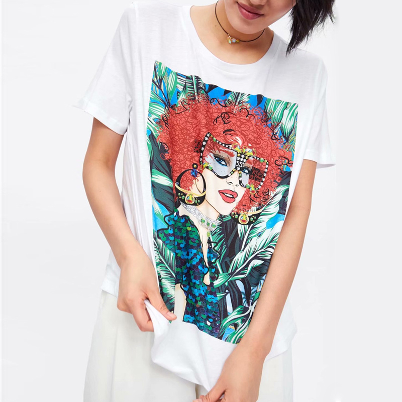T Shirt O-neck Cotton Red Hair Girl Pattern Casual Tees T-Shirt Short Sleeve Summer Tops 2019 Women's Clothing Gray Lady TShirts