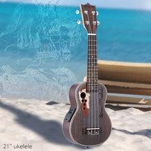 Ammoon – Ukulele acoustique de 21 pouces en épicéa de haute qualité, Instrument de musique à 4 cordes avec capteur EQ intégré, 15 frettes