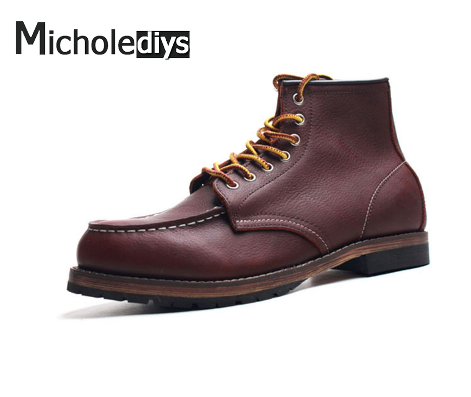 ФОТО 2017 Handmade Red Genuine leather Working  Boots Leather Martin Ankle Boots Breathable Men Shoes