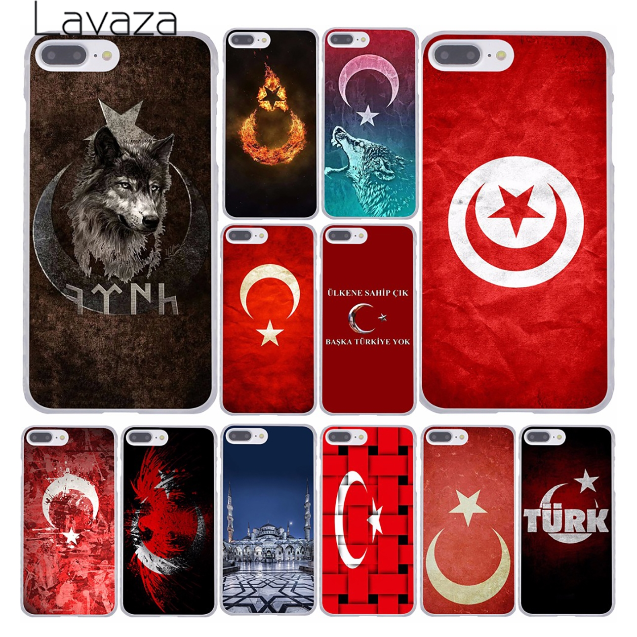 Turkey Flag Hard Case Transparent for iPhone 7 7 Plus 6 6s Plus 5 5S SE 5C 4 4S