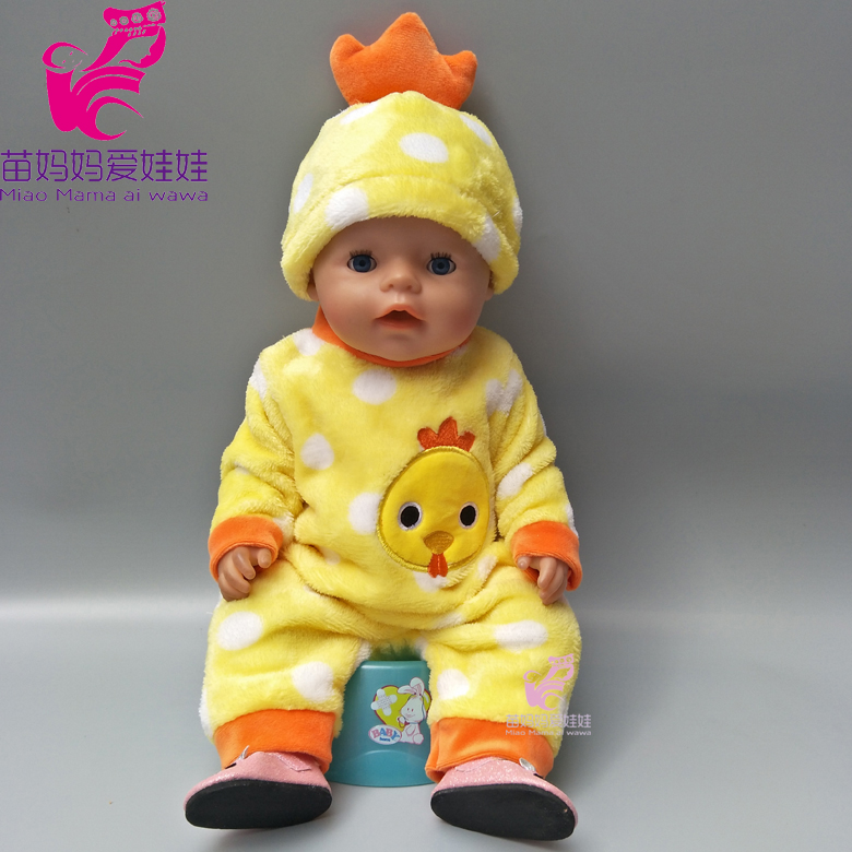 43cm Baby born doll clothes cartoon cock set for 18 inch zapf reborn baby dolls suit with cap for doll girls play house gift summer set for 18 american girl doll bikini cap summer swimming suit with hat also fit for 43cm baby born zapf doll clothes