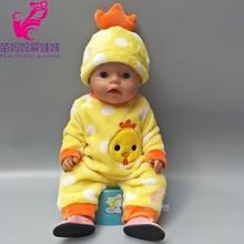 43cm 아기 태어난 인형 옷 만화 수탉은 인형 소녀를위한 모자와 함께 18 인치 zapf reborn 아기 인형 정장 세트 하우스 선물을 재생