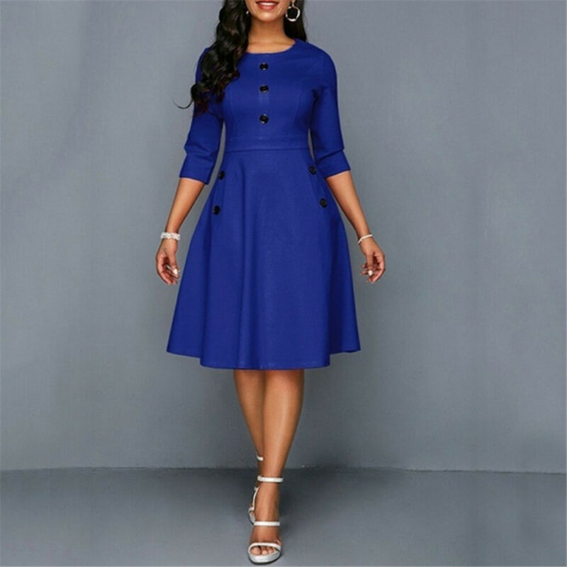 Plus Size Womens Vintage Long Prom Evening Party Swing Dress Ball Gown Button O Neck Dress Ladies Solid Offices Fashion Dress in Dresses from Women 39 s Clothing