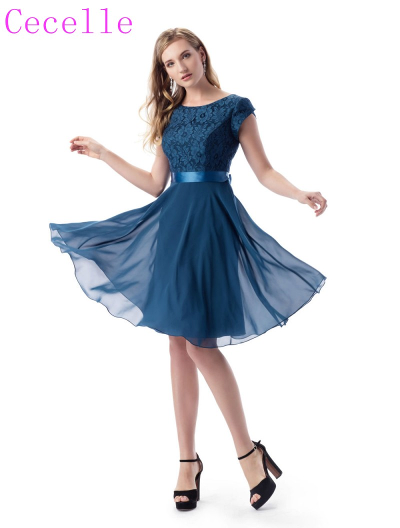 2019 Slate Blue Short Modest   Bridesmaid     Dresses   With Cap Sleeves Lace Chiffon A-line Rustic Beach   Bridesmaid   Gowns Custom Made