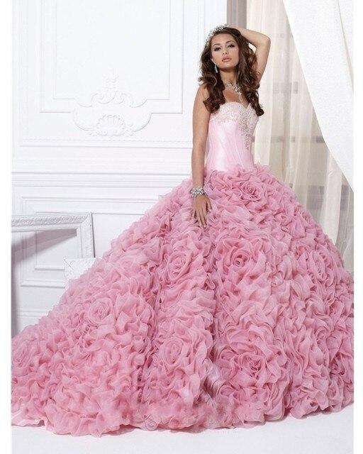Rosa 2017 vestido de Baile Querida Pavimento Length Organza Frisada Cristais Ruffles Baratos Vestidos Quinceanera