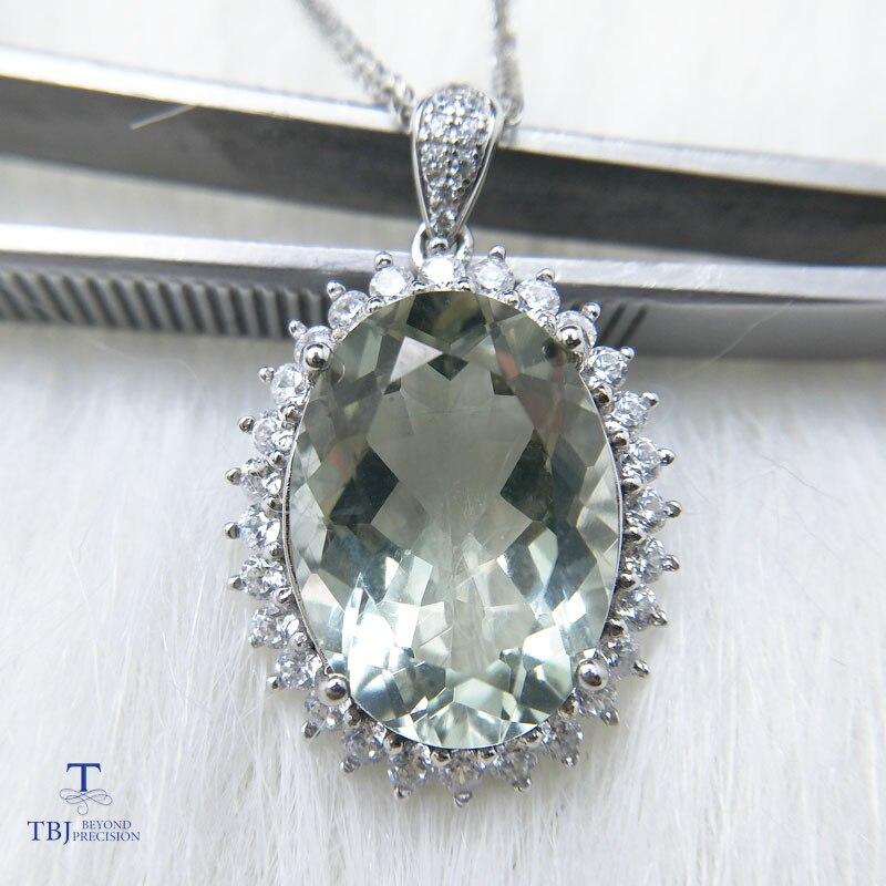 TBJ, pendentif Diana avec améthyste verte naturelle quartz pierre précieuse en argent sterling 925, bijoux de pierres précieuses pour les femmes avec boîte-cadeau