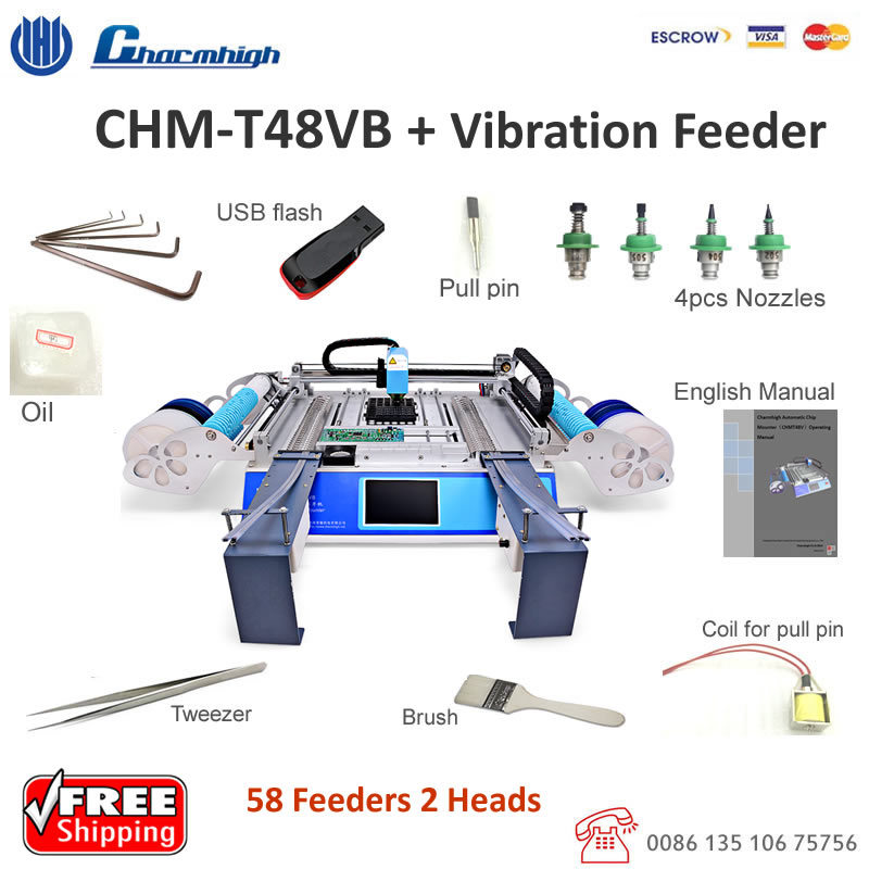 Discount CHMT48VB 58 feeders SMT Pick and Place Machine Vibration feeder batch production Charmhigh CHM T48VB
