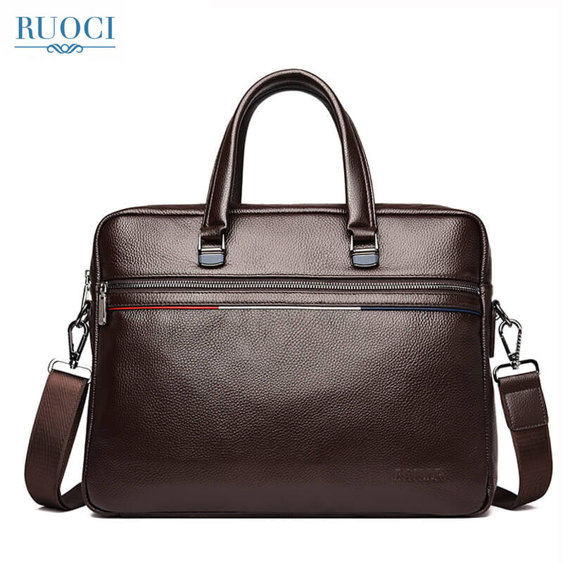 RUOCI Genuine Leather Men Bag Handbags Laptop Tote Bag Men Crossbody Messenger Bags Designer Handbags Briefcases Shoulder Bags genuine leather bag men messenger bags casual multifunction shoulder bags travel handbags men tote laptop briefcases men bag