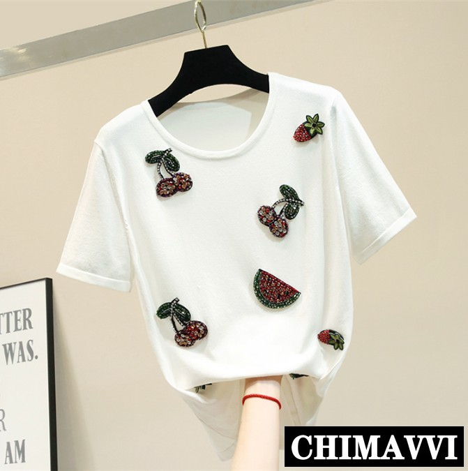 Été nouveau col rond broderie ananas soie tricot chemise femmes à manches courtes lâche T-shirt femme mince tricots hauts