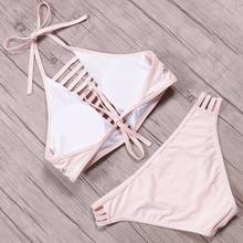 KayVis 2019 Sexy High Neck Bikini Women Swimsuit Swimwear Cut Out Retro Push Up Bikini Set Printed Summer Beach Bathing Suit