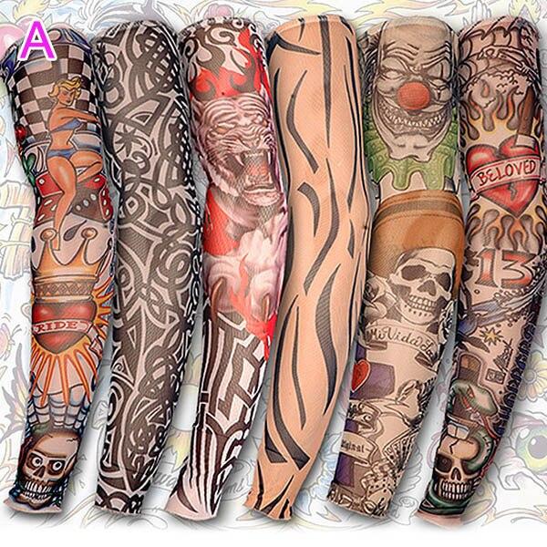 6/10/20Pcs Nylon Elastic Fake Temporary Tattoo Sleeve Body Arm Tatoo Supplies GDD99
