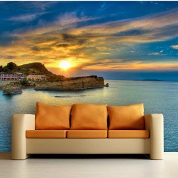 Besar Mural Pemandangan Alam Langit Laut Background Wallpaper Ruang Tamu Tv
