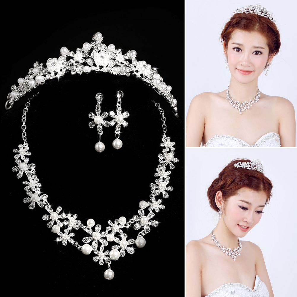 Fashion feminine jewelry Sets Rhinestone Earring Crystal Pearl Diamante Necklace Crown Set Wedding Tiaras And Crowns SL