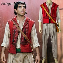 2019 Movie Aladdin Costume Cosplay Halloween Costumes Prince Mena Massoud Outfit Cosplay Aladdin Suit with Bag Custom Made