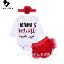Chivry 3Pcs NewBorn Baby Girls Long Sleeve Letter Bodysuit Rompers Tops + Red Shorts Headbands Infant Clothing Sets