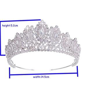 Image 4 - Hadiyana New AAA Rhinestone Crowns Vintage Style Big Eye Shape Wedding Accessories Bridal Hair Tiaras Yellow Gold Party BC3707