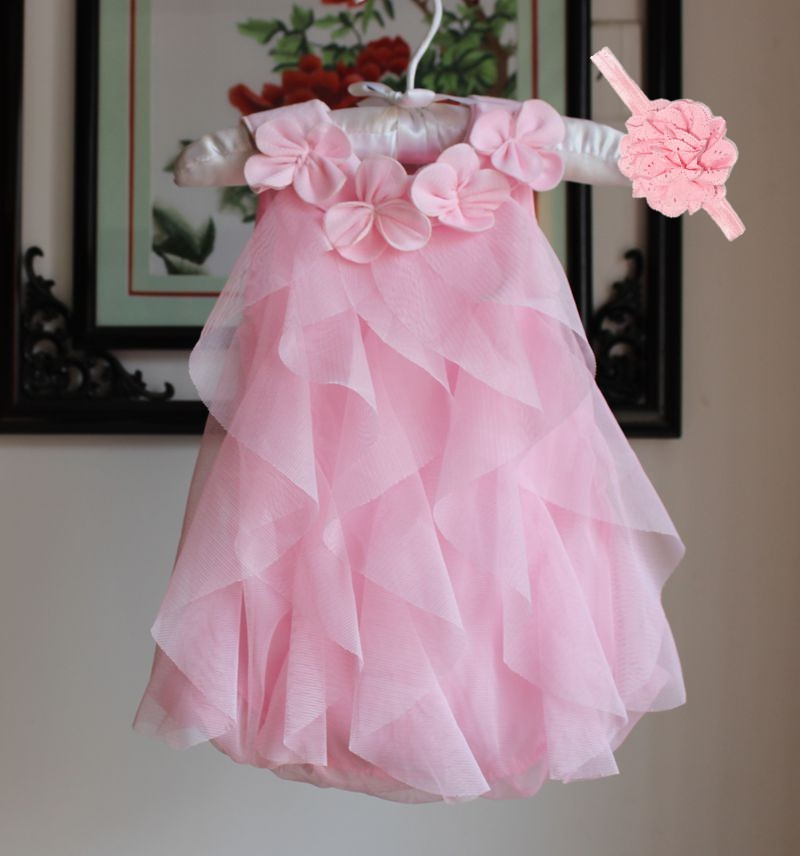 Girls Dress 2017 Summer Chiffon Party Dress Infant 1 Year Birthday Dress Baby Girl Clothes Dresses & Headband Vestidos 4