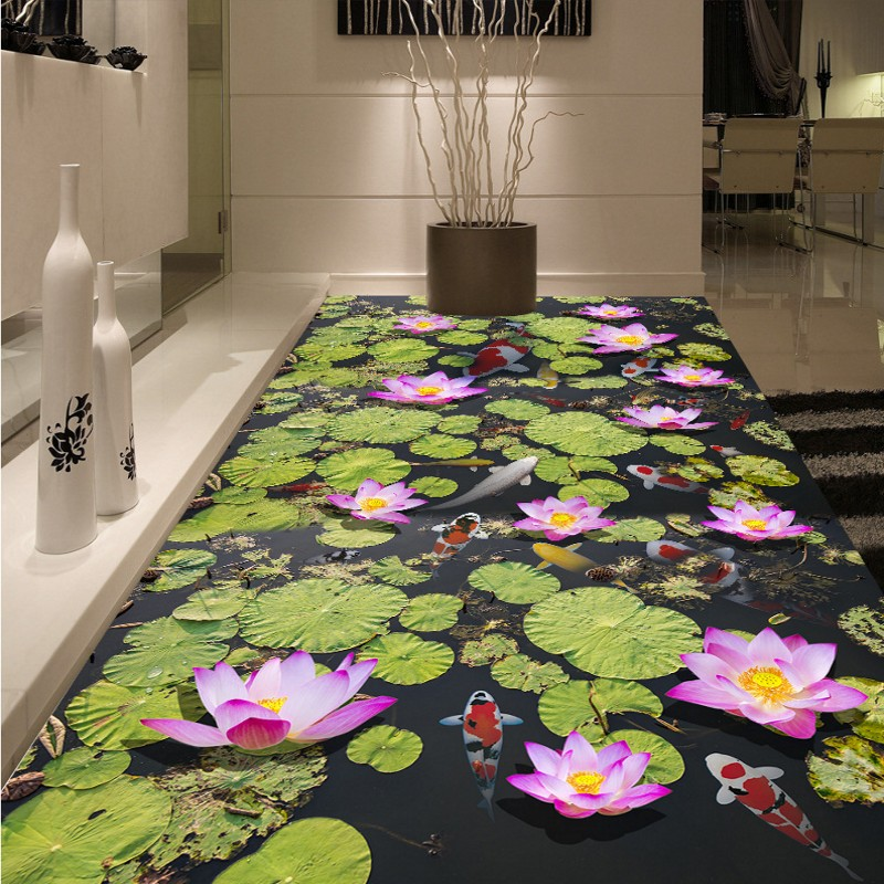 Symbol Of The Brand Free Shipping Hd Carp Lotus Leaf Flooring Painting Bathroom Library Decorative Self-adhesive Floor Mural Wallpaper Wallpapers