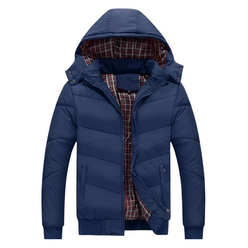Men's Casual Parkas Solid Fleece Winter Jacket Men Hooded Thick Warm Padded Overcoat Man coat Masculino