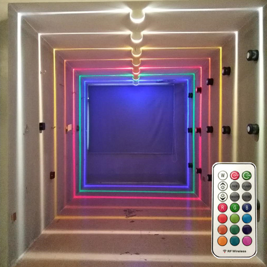 Thrisdar 10W RGB <font><b>Led</b></font> Window Door Frame <font><b>Wall</b></font> Lamp With Remote Hotel KTV Restaurant <font><b>Spot</b></font> light Aisle Corridor Ray liner <font><b>Wall</b></font> Light image