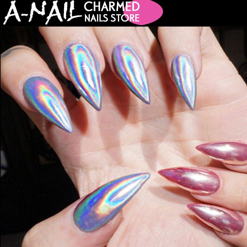 0,2 Gr/schachtel Regenbogen Shinning Spiegel Nagel Glitter Pulver Perfekte Holographische Nägel Staub Laser Holo Nägel Pigment Silber Dekorationen