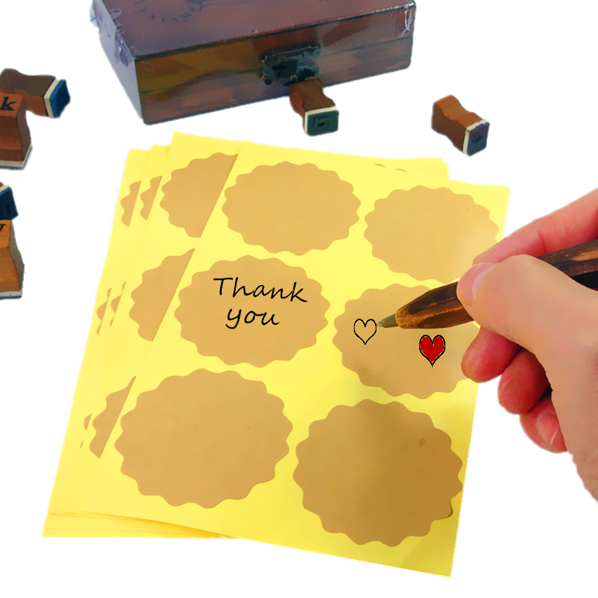 500pcs/lot Blank Flower Design Thank You Handmade  Kraft Paper Self-adhesive Seal Sticker DIY Labels