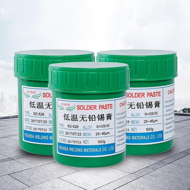 high quality fresh SD-528 low temperature SMT Lead-free SMT Solder Paste 500g Sn42Bi58 for BGA soldering paste solder SMT smt 928шкатулка пингвин
