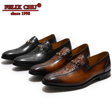 Luxury Brand Genuine Leather Men Loafer Shoes Dress Slip on Pointed Toe Office Banquet Party Wedding
