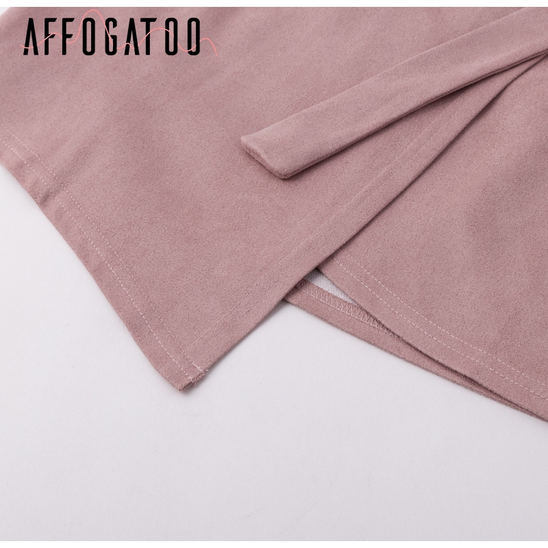 Affogatoo Asymmetrical sash knotted suede skirt women High waist sexy split winter skirt 18 Autumn casual leather skirt female 9