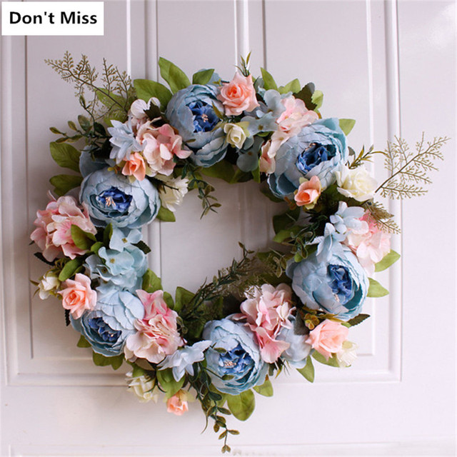 Christmas Wreath Artificial Flowers Wreaths Door Fake Garland for Christmas Decoration Home Office Party Decor Wieniec Na Drzwi