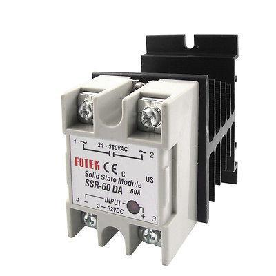 DC-AC Single Phase Solid State Relay SSR-60DA 60A 3-32VDC 24-380VAC w heat sink free shipping temperature controller 3 32vdc 24 380vac ssr 10a dc ac solid state relay