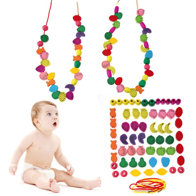60pcs/lot Kids Fruit Bead Wooden Stringing Toys Kit Children Threading Beads Game Crafts Toys Child Learning Education Toys Gift wooden toys for children s labyrinth education wooden blocks bead maze baby early learning kids gift colorful