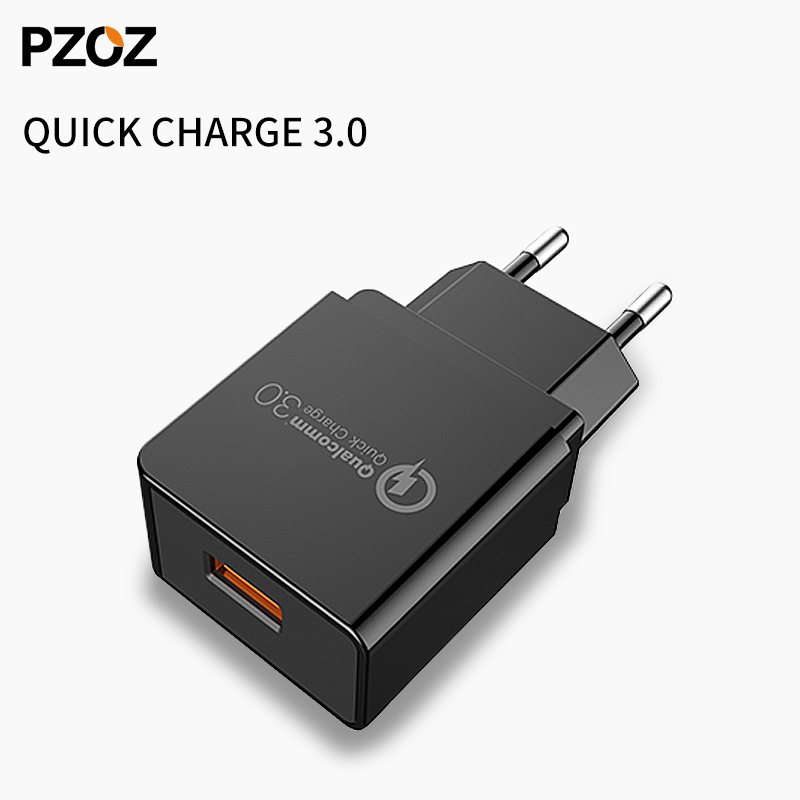 Pzoz usb charger eu wall plug fast Quick charge QC 3.0 Portable 18W Universal Mobile Phone Adapter for xiomi huawei p10 lg g6