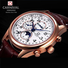 Carnival gold 8 needle multifunctional relogio military mechanical watch waterproof full steel leather mens luxury brand watches