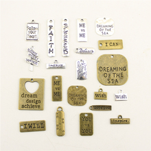 Jewelry Female Rectangle Square Wish Dream Faith Text Hang Tag Diy Accessories