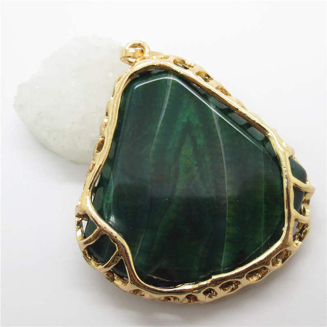 Gold color wire wrapped agate pendant for jewelry necklace men gold color wire wrapped agate pendant for jewelry necklace men women natural semi precious stone green publicscrutiny Image collections