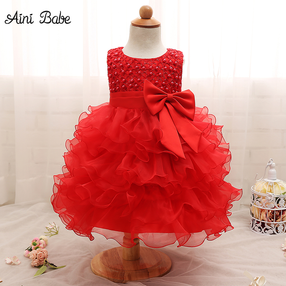 Aini Babe Newborn Baby Dresses For Baptism 1st Birthday Outfits Baby Girl Dress Lace Christening Gown Infant Kids Wedding Dress