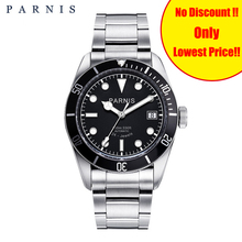 Parnis Automatic Watch Men Stainless Steel Strap Diver Man Clock Luminous Analog Men's Mechanical Watches 2019 New montre homme
