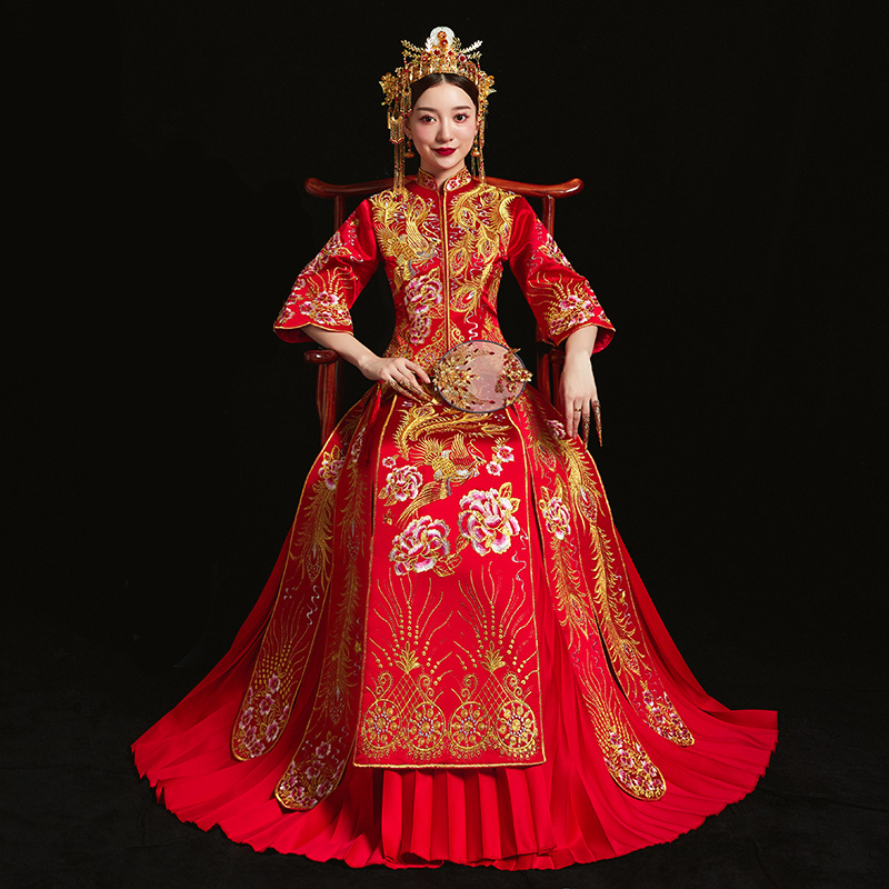 Red bride cheongsam Vintage chinese style wedding evening dress clothing Embroidery Phoenix Qipao costume Vestidos Size S-XXXL
