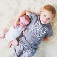 1 предмет, детская серая футболка с надписью «Big Brother» для маленьких мальчиков и девочек хлопковый боди с короткими рукавами и надписью «Little Sister», летние топы