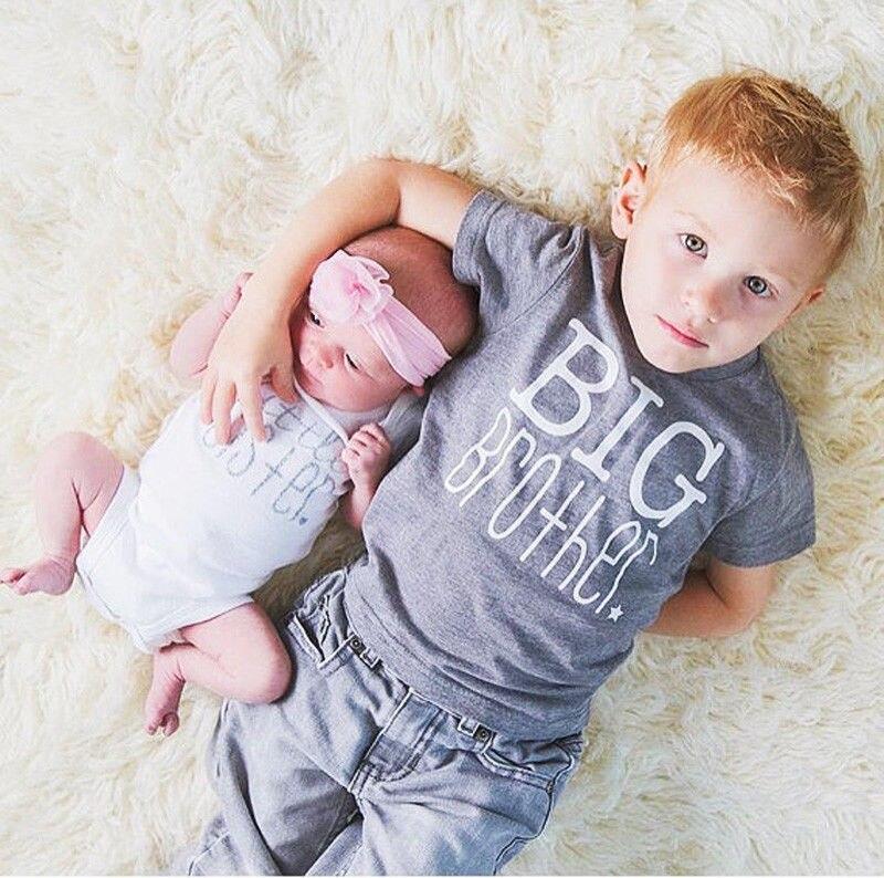 1PC Kids Boys Baby Girls Gray Big Brother T-shirt Little Sister Cotton Bodysuit Short Sleeve Letter Tops Summer