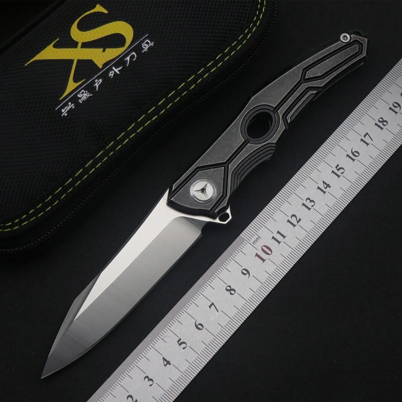 TS28  Flip Folding Knife Ball Bearing D2 Blade Titanium Alloy Handle Outdoor Camping Multi-purpose Hunting EDC Tool